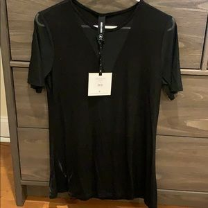 Black tee with sheer detail v neck
